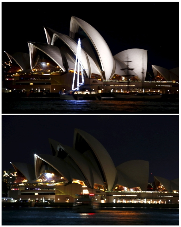 A combination photograph shows the lights of the Sydney Opera House before and after they were switched off for Earth Hour in Sydney, Australia